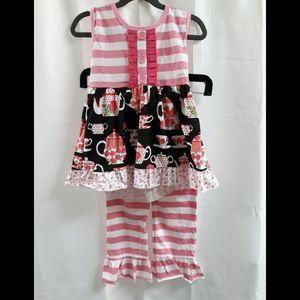 Girls Matching Set Tea Party Pink 4T